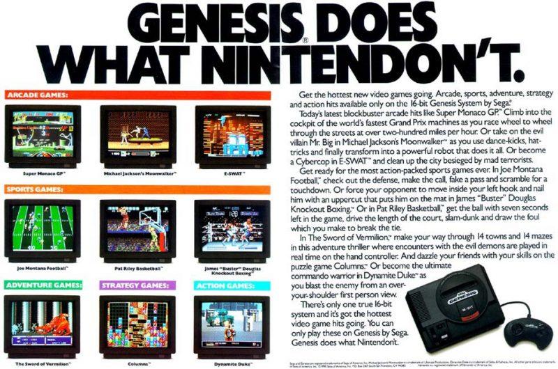 Sega y Nintendo realizaron durante su rivalidad numerosos anuncios que aludían directamente a la otra.