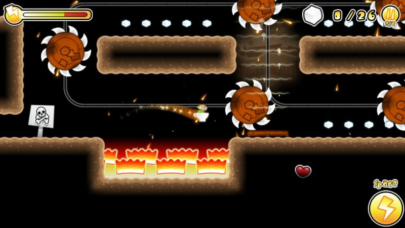El juego tiene esa estructura típica de un platformer donde vemos fases de hierba, agua, lava y letales pinchos como obstáculo