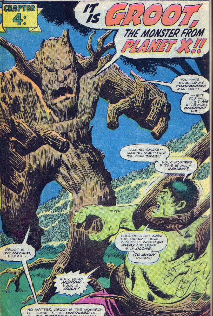 Groot peleando contra Hulk