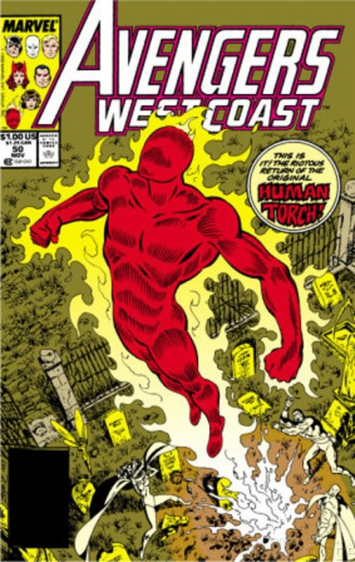 Human Torch en los West Coast Avengers