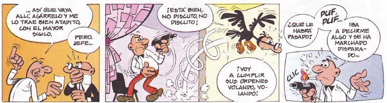 Mortadelo suele estar atemorizado debido al mal temperamento de su jefe. Eso hace que a veces haya malentendidos.