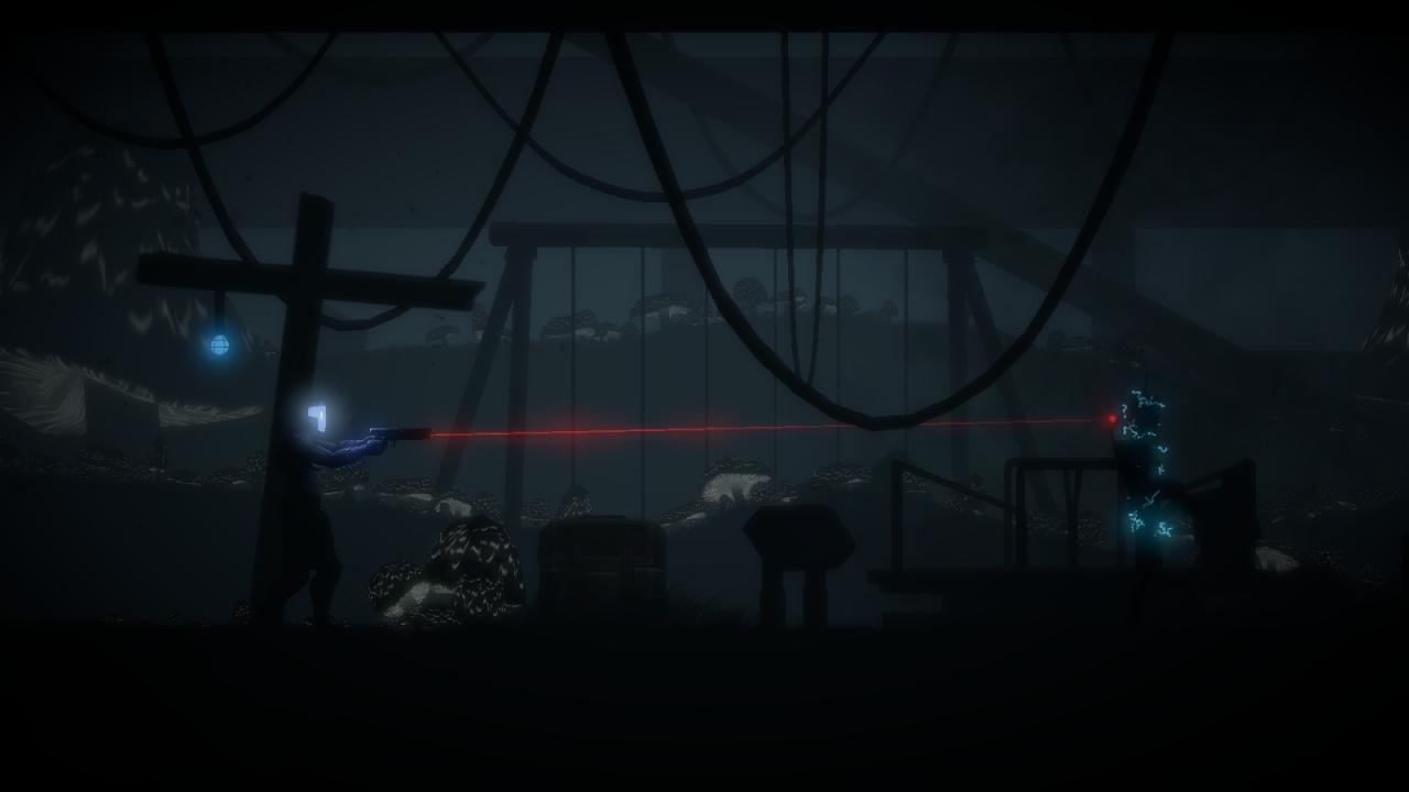 A.R.I.D. apuntando con su arma en uno de los oscuros escenarios del juego
