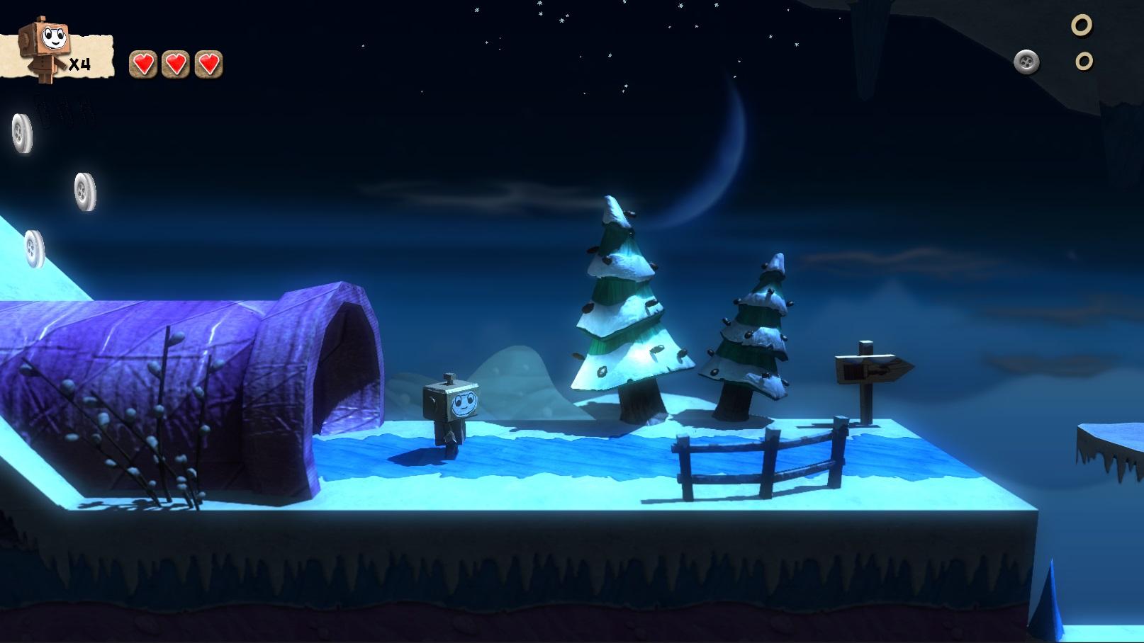 Varios niveles en este juego están ambientados de noche, como por ejemplo en este escenario nevado