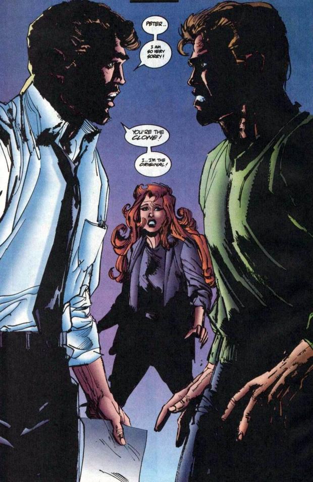 Ben Reilly dándole las malas noticias a Peter Parker