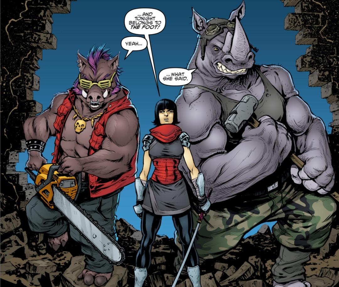 Bebop y Rocksteady con Karai en los cómics de IDW