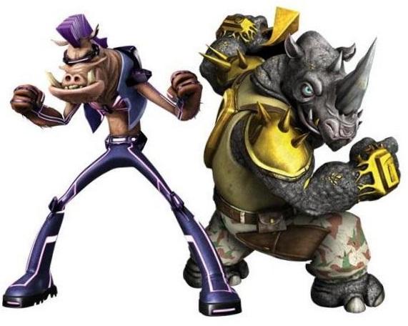Diseños de Bebop y Rocksteady para la serie de Nickelodeon