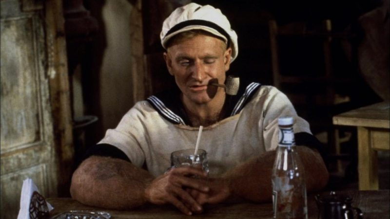 Robin Williams interpretando a Popeye en la película de 1980