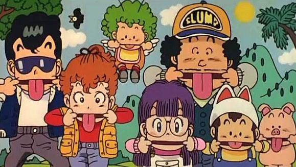 (de izquierda a derecha) Taro, Akane, Gatchan, Arale, Sembei, Pisuke y un cerdito