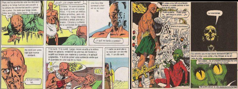 Si a la izquierda (versión de los hechos correspondiente a la primera etapa de la serie) Utnapishtim ofrece la inmortalidad a Gilgamesh, a la derecha vemos al rey sumerio tomar la iniciativa.