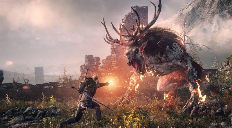 Geralt de Rivia enfrentándose a un temible enemigo