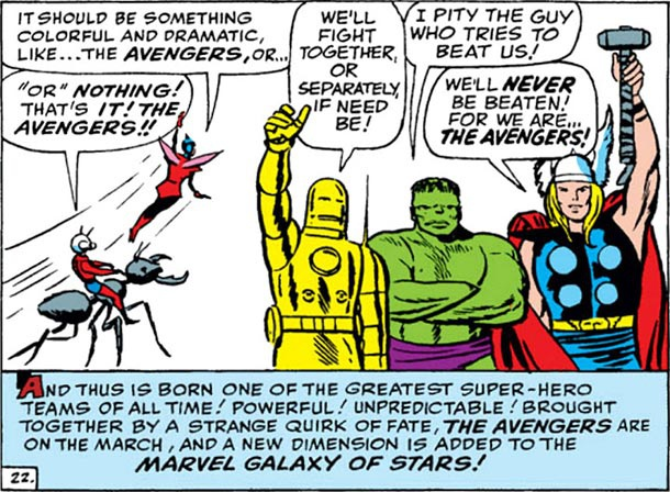 Ant-Man, Wasp, Iron Man, Hulk y Thor, los Vengadores originales