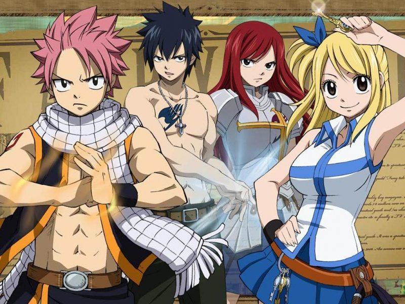 Personajes principales de Fairy Tai. De izquierda a derecha: Natsu, Gray, Elsa y Lucy.