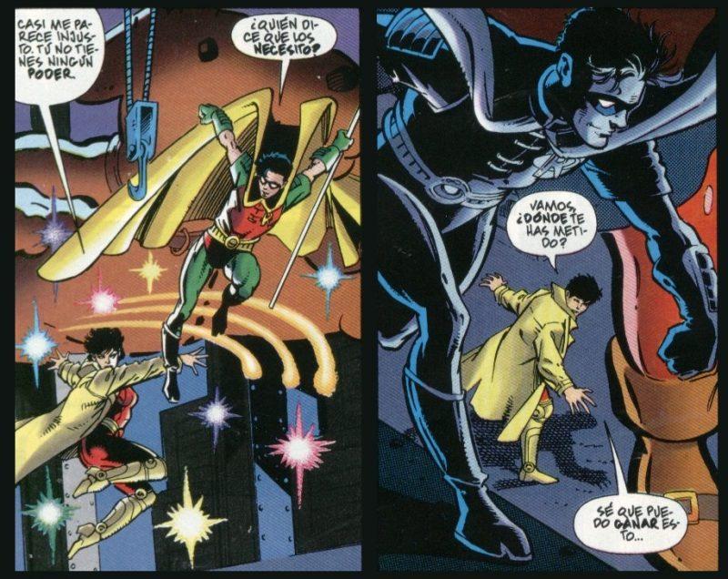 Robin y Jubilee luchando pese a que preferirían hacer otra cosa el uno con el otro