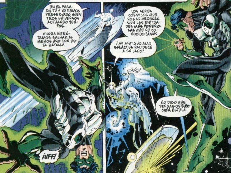 Combate espacial entre Silver Surfer y Green Lantern