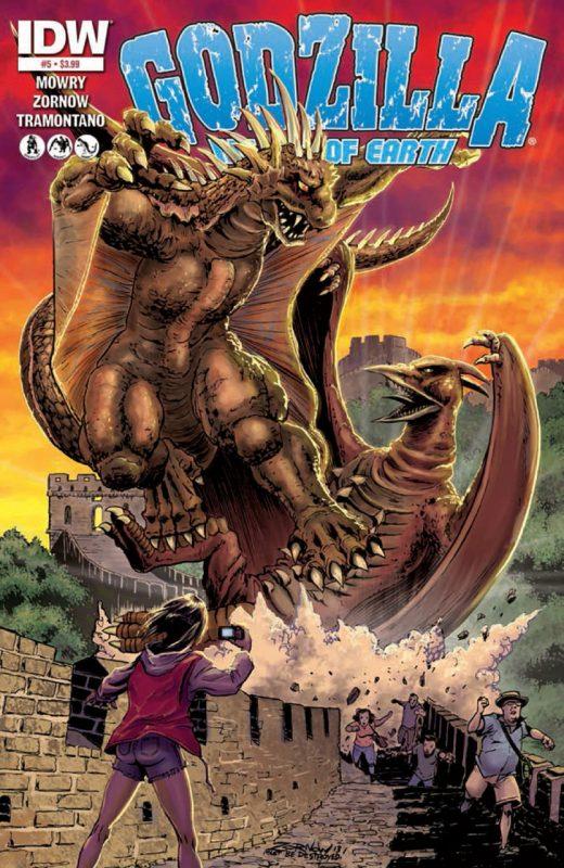 Varan peleando contra Rodan en los cómics de Godzilla