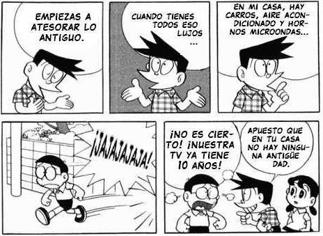 Nobita siente una envidia terrible cuando Suneo presume de lujos.