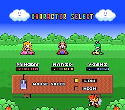 Elige la velocidad entre Peach, Mario y Yoshi