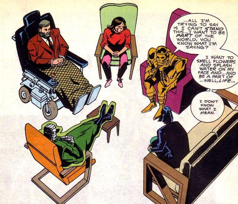 La Doom Patrol en una de sus terapias de grupo