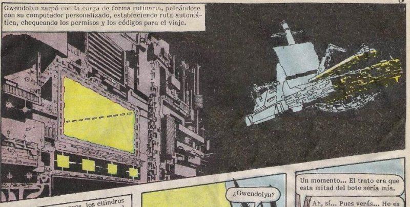 Gwendolyn controla uno de los cargueros que llevan mercancías de un lado a otro.