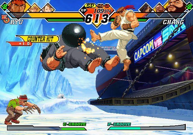 Ryu derribando a Chang ante la atenta mirada del pequeño Choi