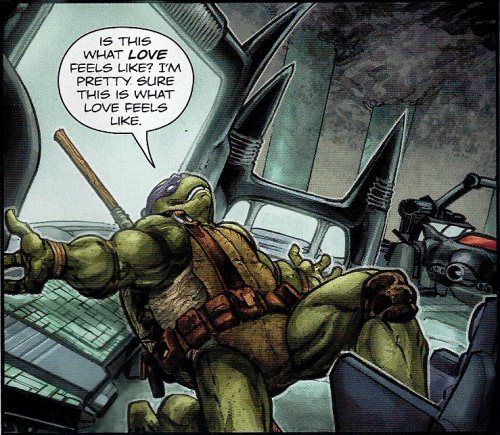 Donatello disfrutando de la tecnologia de la Batcueva