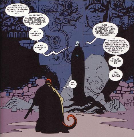 Rasputín puso al corriente a Hellboy de su supuesto destino.