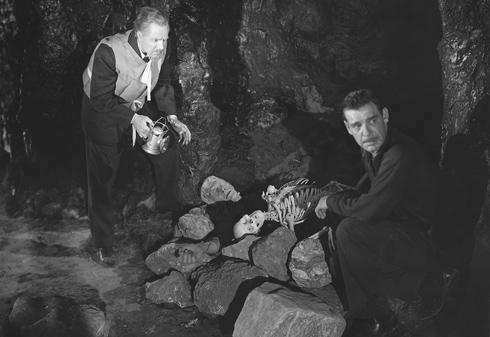 El doctor Edelmann y Larry encuentran al monstruo de Frankenstein en la cueva