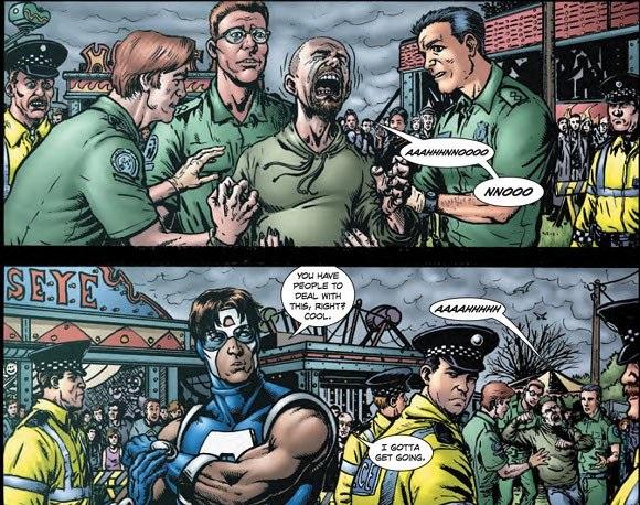 Huggie tras ver morir a su novia aplastada por un superhéroe