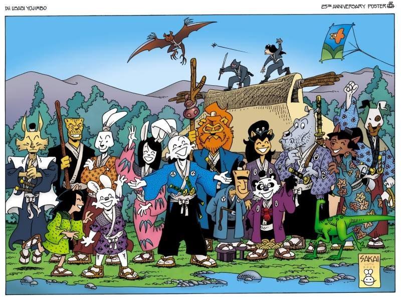 Usagi y muchos de sus compañeros de aventuras