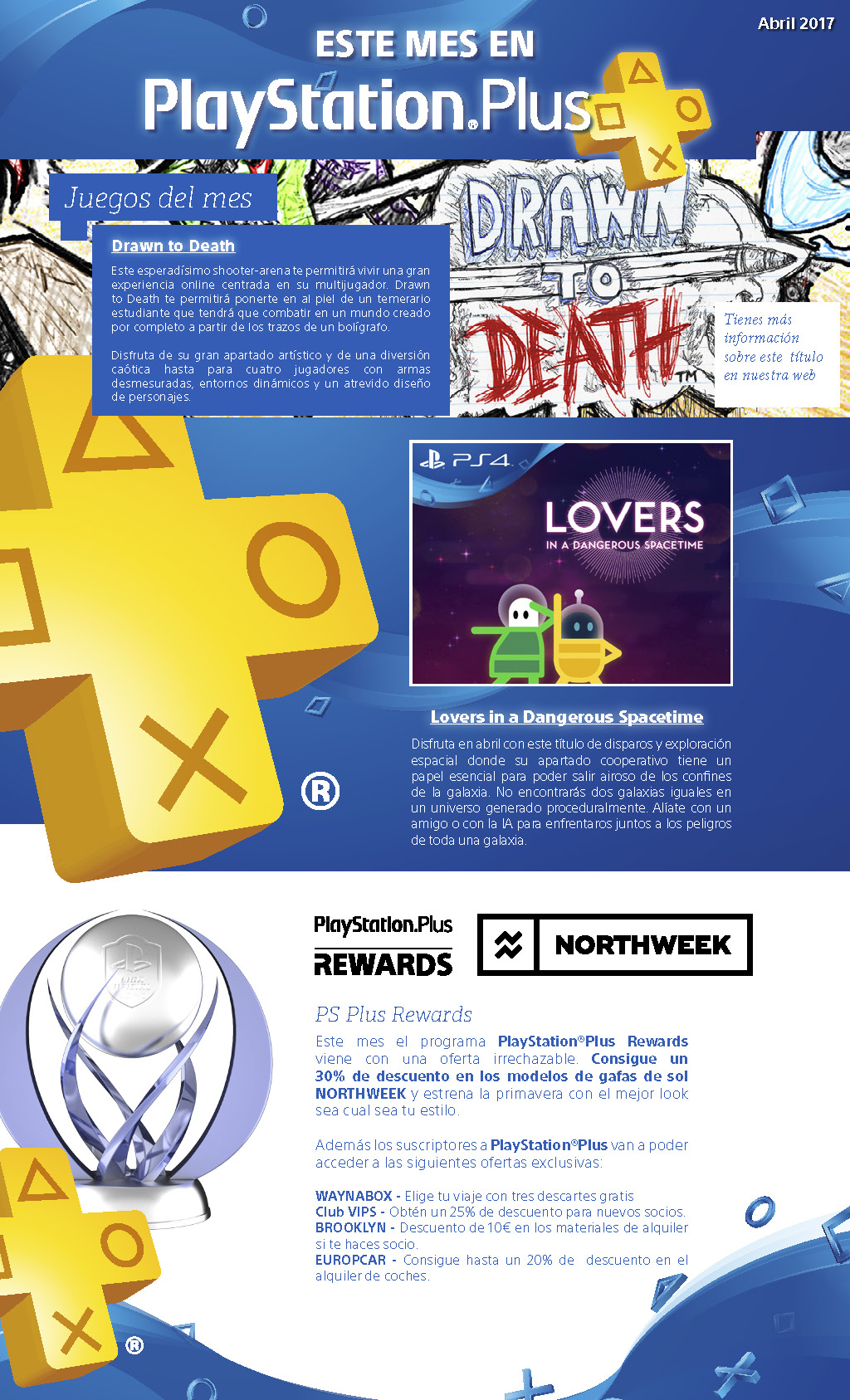 Newsletter PlayStation Plus abril 2017